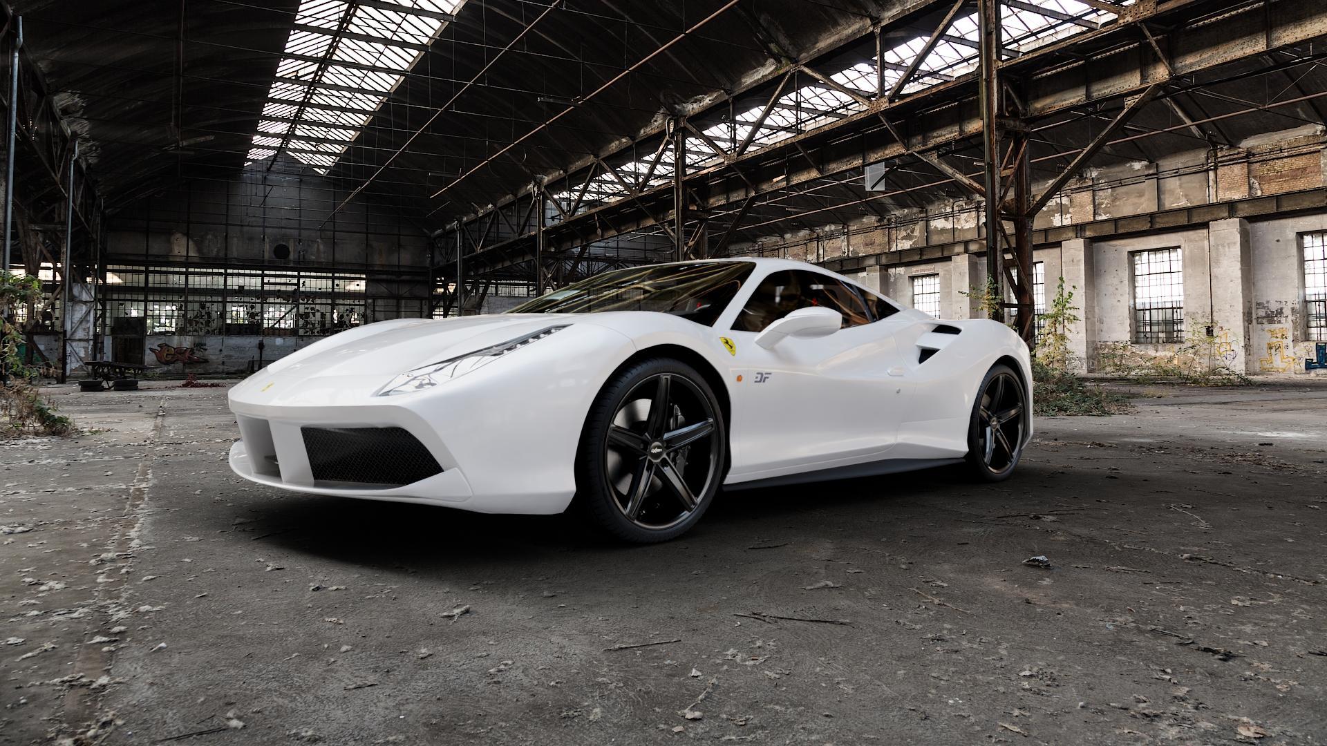 OXIGIN 18 Concave black Felge mit Reifen schwarz in 20Zoll Winterfelge Alufelge auf weissem Ferrari 488 GTB ⬇️ mit 15mm Tieferlegung ⬇️ Industriehalle 1 Camera_000