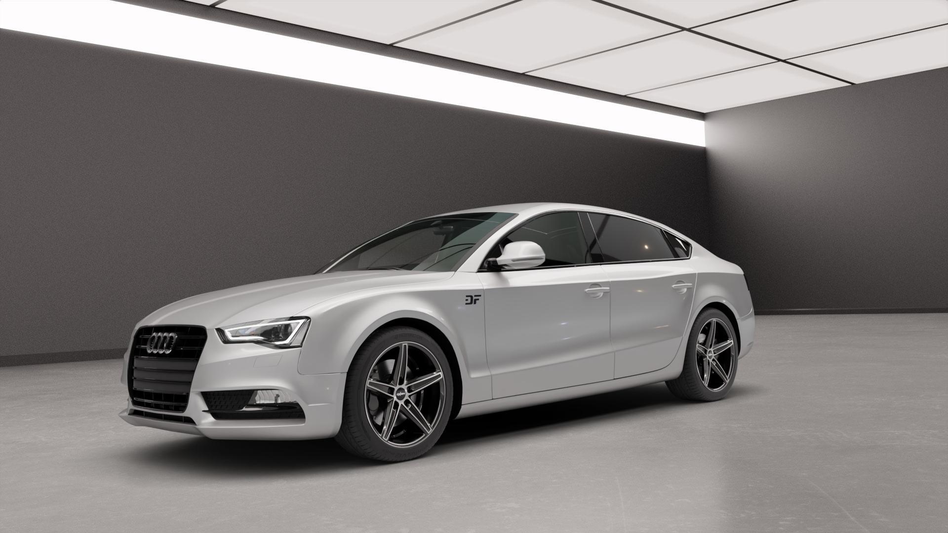 OXIGIN 18 Concave black full polish Felge mit Reifen silber schwarz mehrfarbig in 18Zoll Alufelge auf silbernem Audi A5 Typ B8 (Sportback) Facelift ⬇️ mit 15mm Tieferlegung ⬇️ Neutral_mid_max5300mm Frontansicht_1