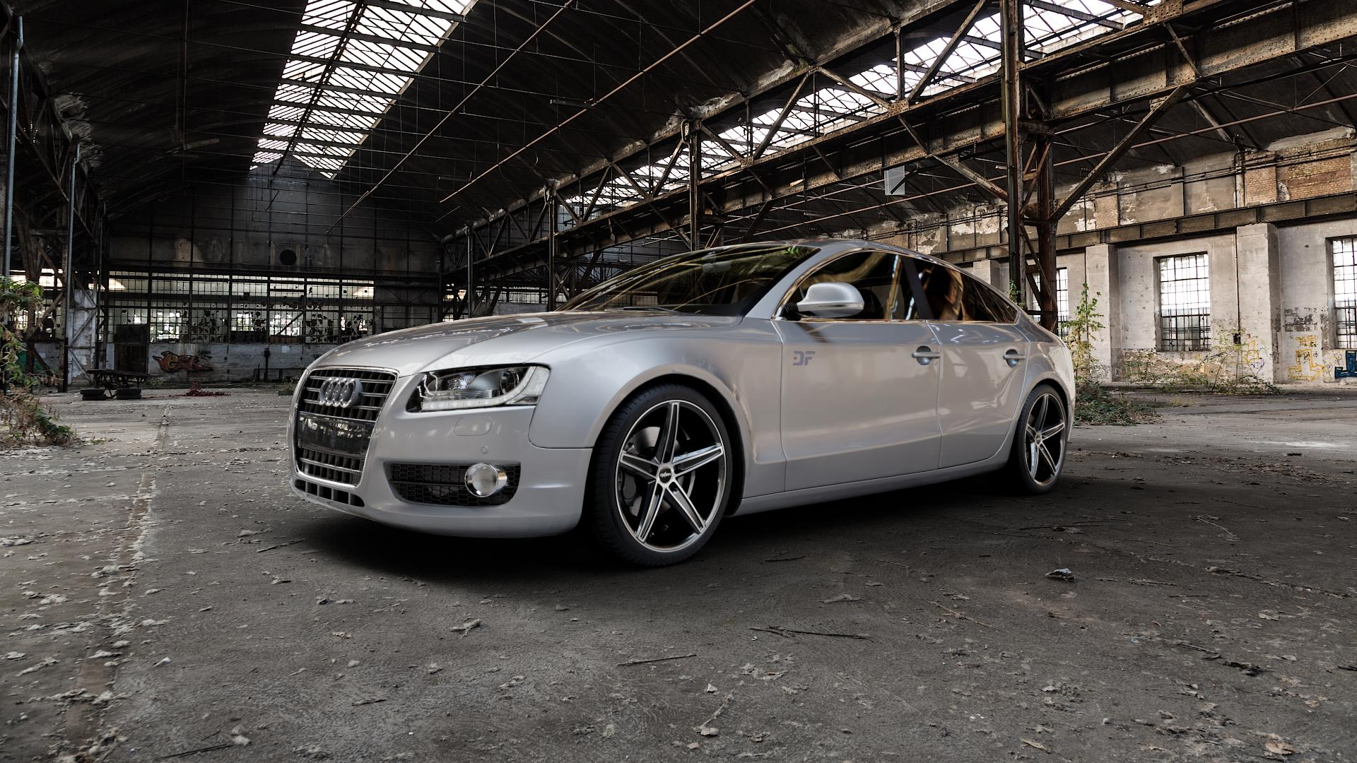 OXIGIN 18 Concave black full polish Felge mit Reifen silber schwarz mehrfarbig in 19Zoll Alufelge auf silbernem Audi A5 Typ B8 (Sportback) ⬇️ mit 15mm Tieferlegung ⬇️ Industriehalle 1 Camera_000
