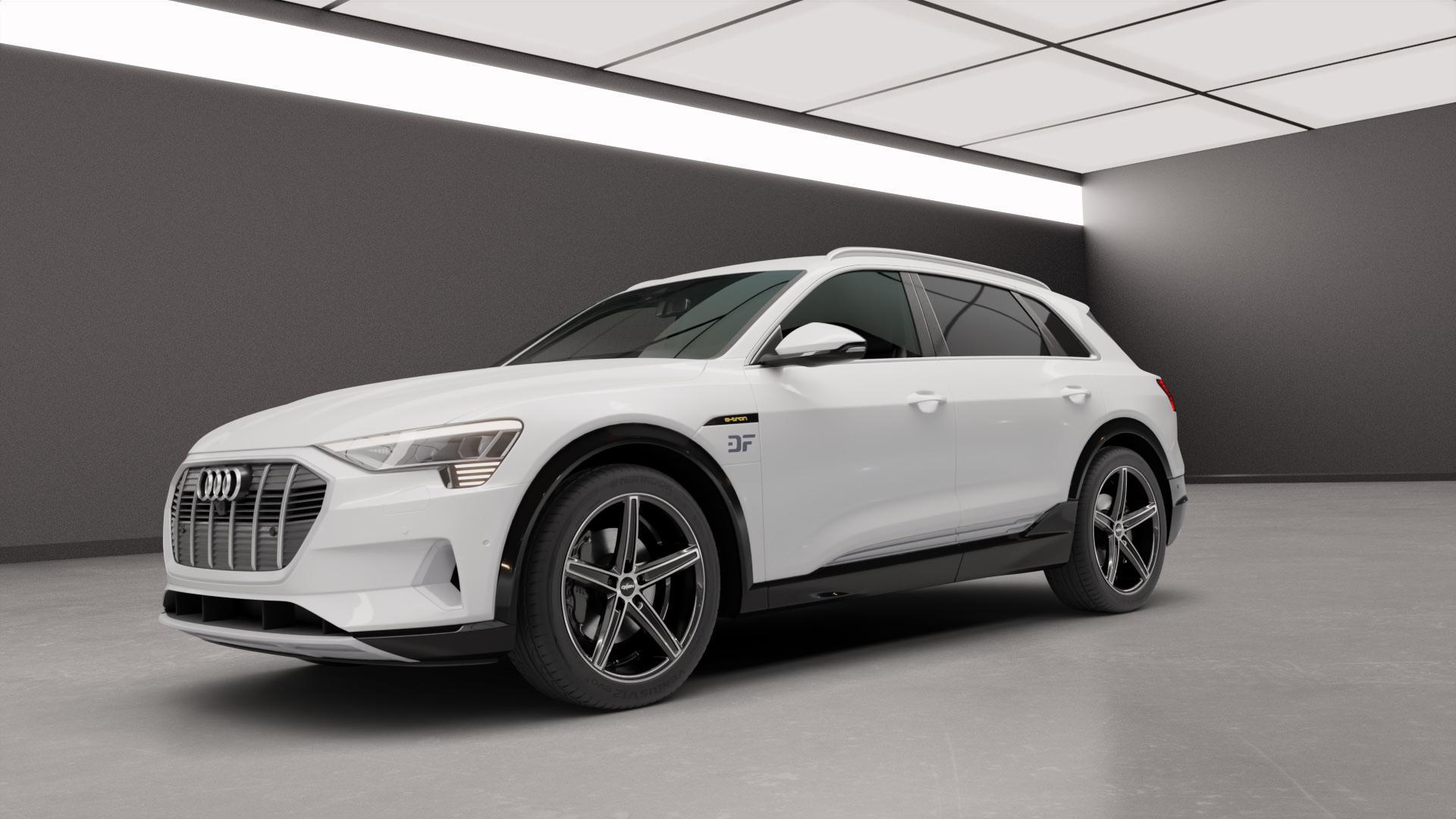 OXIGIN 18 Concave black full polish Felge mit Reifen silber schwarz mehrfarbig in 21Zoll Alufelge auf weissem Audi E-Tron Typ GE S ⬇️ mit 15mm Tieferlegung ⬇️ Neutral_mid_max5300mm Frontansicht_1