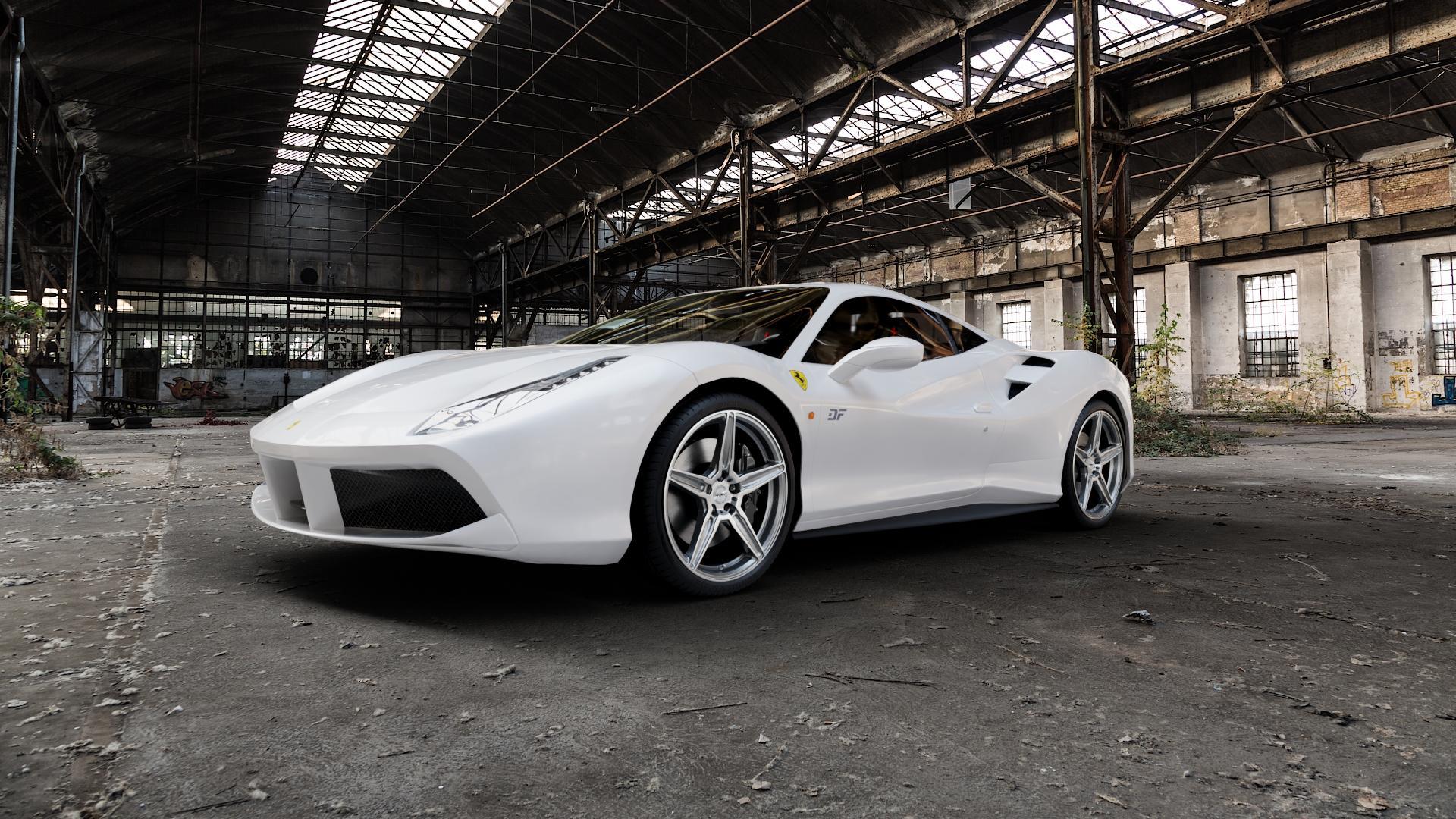 OXIGIN 21 Oxflow titan brush Felge mit Reifen grau in 20Zoll Alufelge auf weissem Ferrari 488 GTB ⬇️ mit 15mm Tieferlegung ⬇️ Industriehalle 1 Camera_000