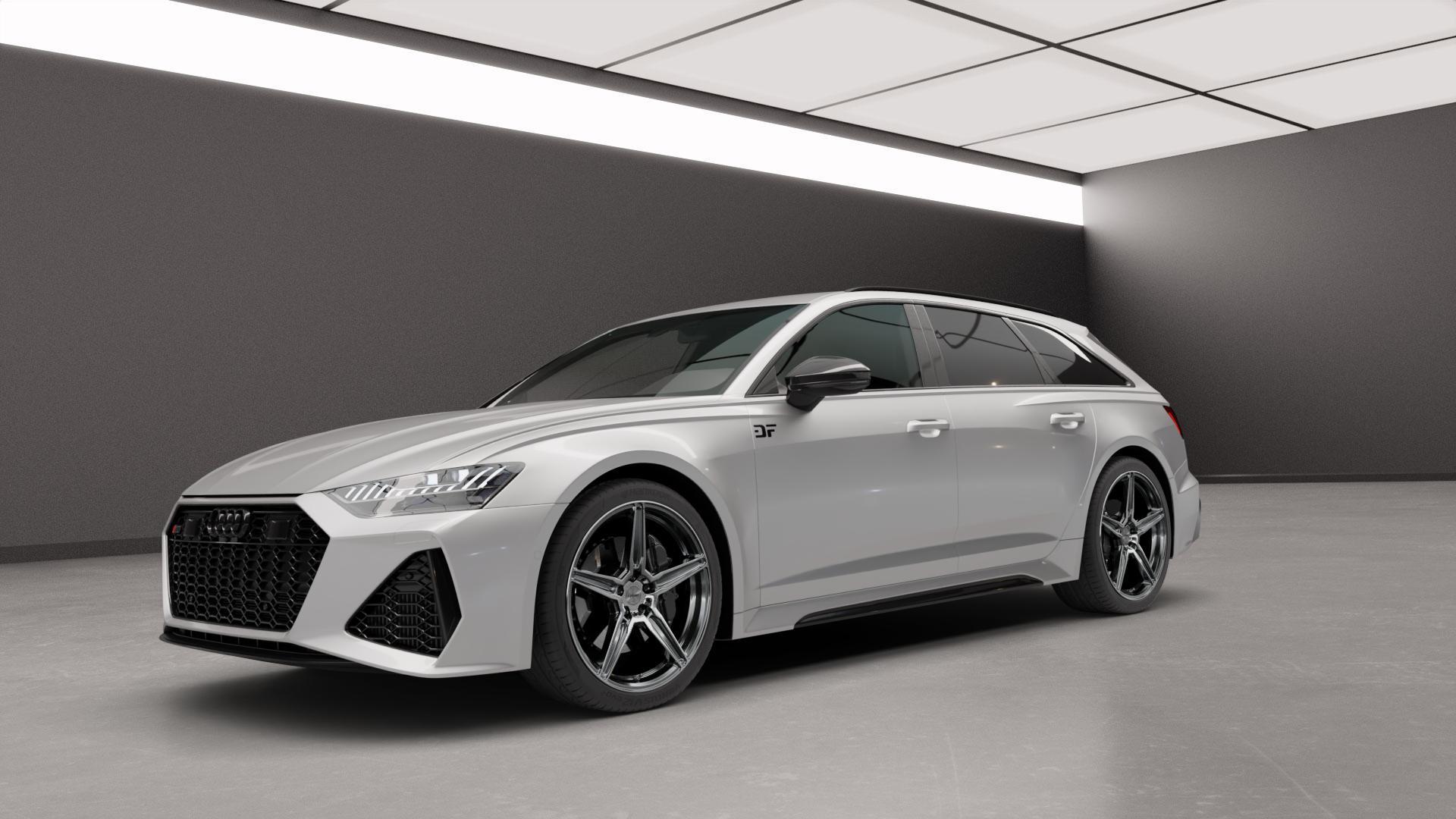 OXIGIN 21 Oxflow titan brush Felge mit Reifen grau in 21Zoll Alufelge auf silbernem Audi A6 Typ F2/C8 (Avant) 4,0l RS6 TFSI quattro 441kW (600 PS) Mild-Hybrid ⬇️ mit 15mm Tieferlegung ⬇️ Neutral_mid_max5300mm Frontansicht_1