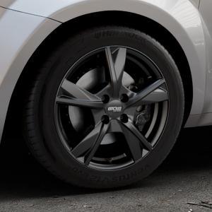 OXXO Mimas Matt black Felge mit Reifen schwarz in 16Zoll Winterfelge Alufelge auf silbernem Alfa Romeo Mito Typ 955 ⬇️ mit 15mm Tieferlegung ⬇️ Industriehalle 1 Thumbnail