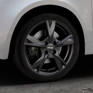 OXXO Mimas Matt black Felge mit Reifen schwarz in 16Zoll Winterfelge Alufelge auf silbernem Fiat 500 Typ 312 Cabrio Facelift ⬇️ mit 15mm Tieferlegung ⬇️ Industriehalle 1 Thumbnail