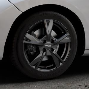 OXXO Mimas Matt black Felge mit Reifen schwarz in 16Zoll Winterfelge Alufelge auf silbernem Peugeot 207 SW ⬇️ mit 15mm Tieferlegung ⬇️ Industriehalle 1 Thumbnail
