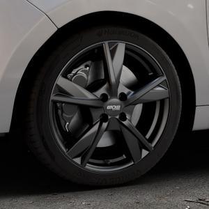 OXXO Mimas Matt black Felge mit Reifen schwarz in 17Zoll Winterfelge Alufelge auf silbernem Citroen C3 Picasso ⬇️ mit 15mm Tieferlegung ⬇️ Industriehalle 1 Thumbnail