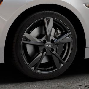 OXXO Mimas Matt black Felge mit Reifen schwarz in 17Zoll Winterfelge Alufelge auf silbernem Fiat 124 Spider Typ NF ⬇️ mit 15mm Tieferlegung ⬇️ Industriehalle 1 Thumbnail