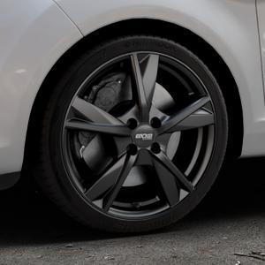 OXXO Mimas Matt black Felge mit Reifen schwarz in 17Zoll Winterfelge Alufelge auf silbernem Ford Fiesta VI Typ JA8 Facelift ⬇️ mit 15mm Tieferlegung ⬇️ Industriehalle 1 Thumbnail