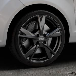 OXXO Mimas Matt black Felge mit Reifen schwarz in 17Zoll Winterfelge Alufelge auf silbernem Ford Fiesta VI Typ JA8 ⬇️ mit 15mm Tieferlegung ⬇️ Industriehalle 1 Thumbnail
