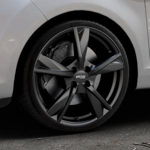 OXXO Mimas Matt black Felge mit Reifen schwarz in 18Zoll Winterfelge Alufelge auf silbernem Ford Fiesta VI Typ JA8 Facelift ⬇️ mit 15mm Tieferlegung ⬇️ Industriehalle 1 Thumbnail