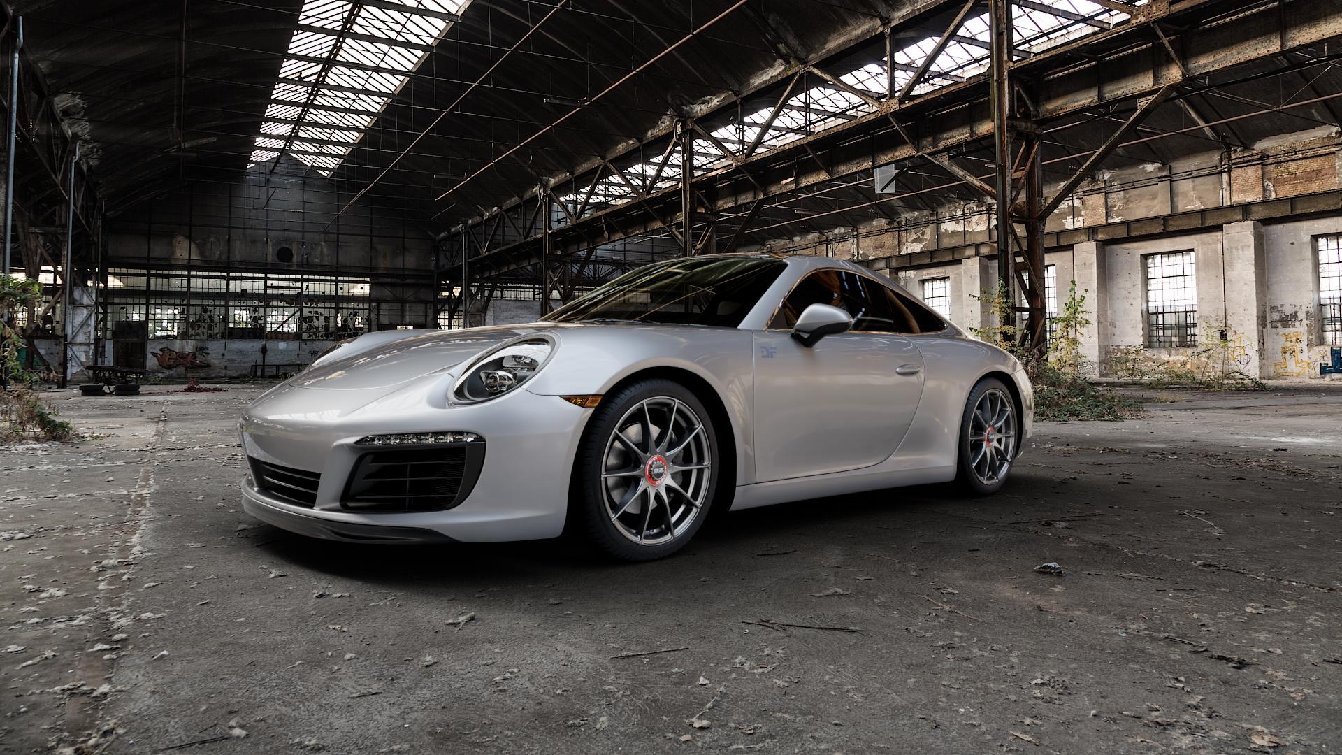 OZ RACING FORMULA HLT GRIGIO CORSA Felge mit Reifen silber in 19Zoll Winterfelge Alufelge auf silbernem Porsche 911 Typ 991 Cabriolet Facelift ⬇️ mit 15mm Tieferlegung ⬇️ Industriehalle 1 Camera_000