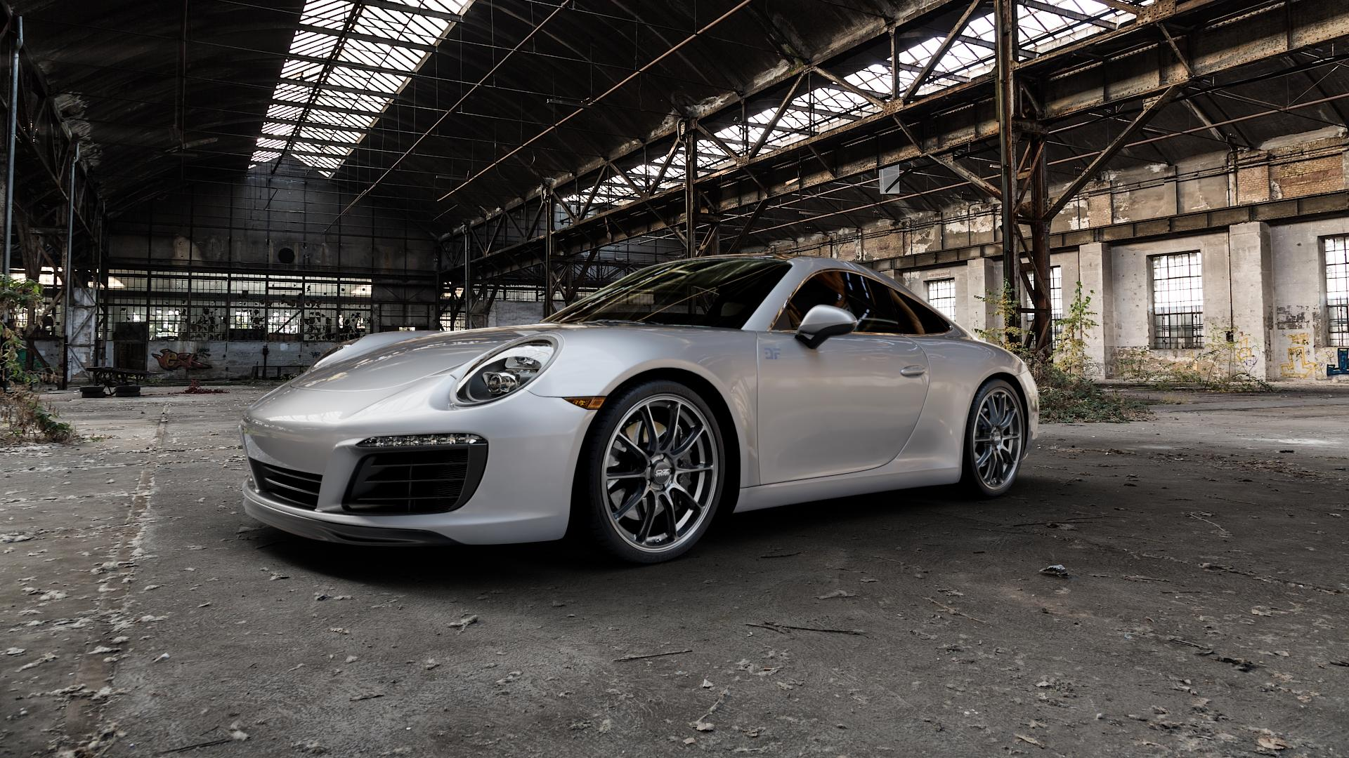 OZ RACING HYPER GT STAR GRAPHITE Felge mit Reifen grau in 20Zoll Winterfelge Alufelge auf silbernem Porsche 911 Typ 991 Cabriolet Facelift ⬇️ mit 15mm Tieferlegung ⬇️ Industriehalle 1 Camera_000