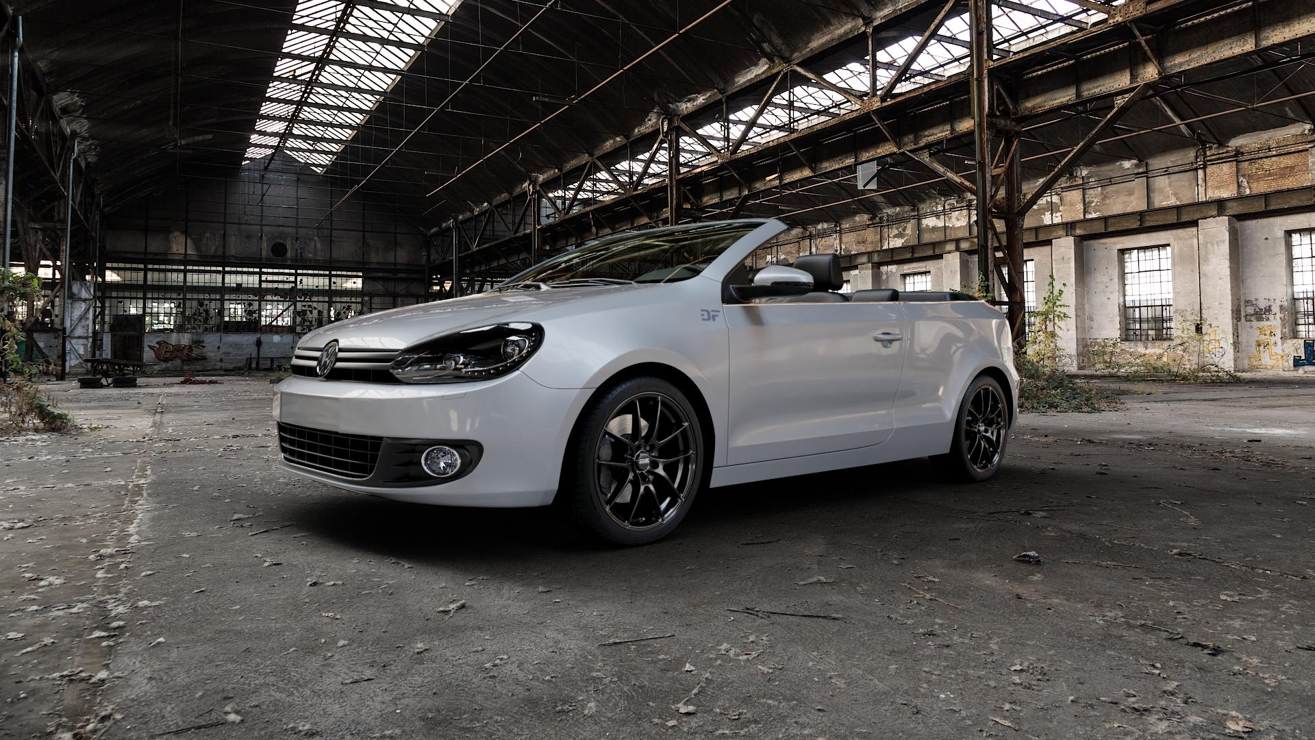 OZ RACING LEGGERA HLT GLOSS BLACK Felge mit Reifen schwarz in 18Zoll Winterfelge Alufelge auf silbernem Volkswagen (VW) Golf 6 Cabrio ⬇️ mit 15mm Tieferlegung ⬇️ Industriehalle 1 Camera_000