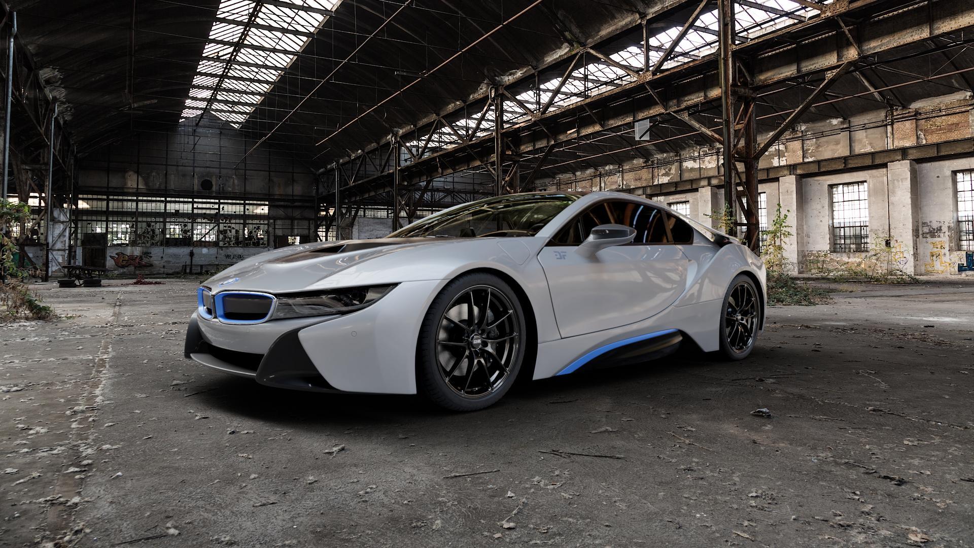 OZ RACING LEGGERA HLT GLOSS BLACK Felge mit Reifen schwarz in 20Zoll Winterfelge Alufelge auf silbernem BMW i8 Coupe (BMWi-2) ⬇️ mit 15mm Tieferlegung ⬇️ Industriehalle 1 Camera_000