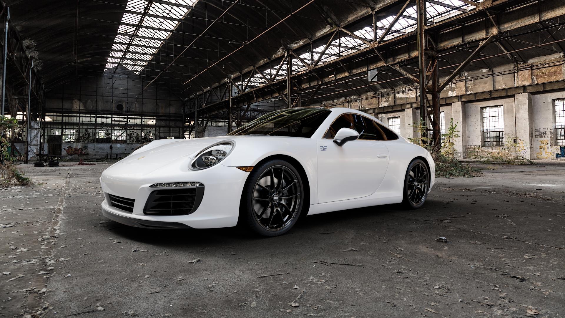 OZ RACING LEGGERA HLT GLOSS BLACK Felge mit Reifen schwarz in 20Zoll Winterfelge Alufelge auf weissem Porsche 911 Typ 991 Cabriolet Facelift ⬇️ mit 15mm Tieferlegung ⬇️ Industriehalle 1 Camera_000