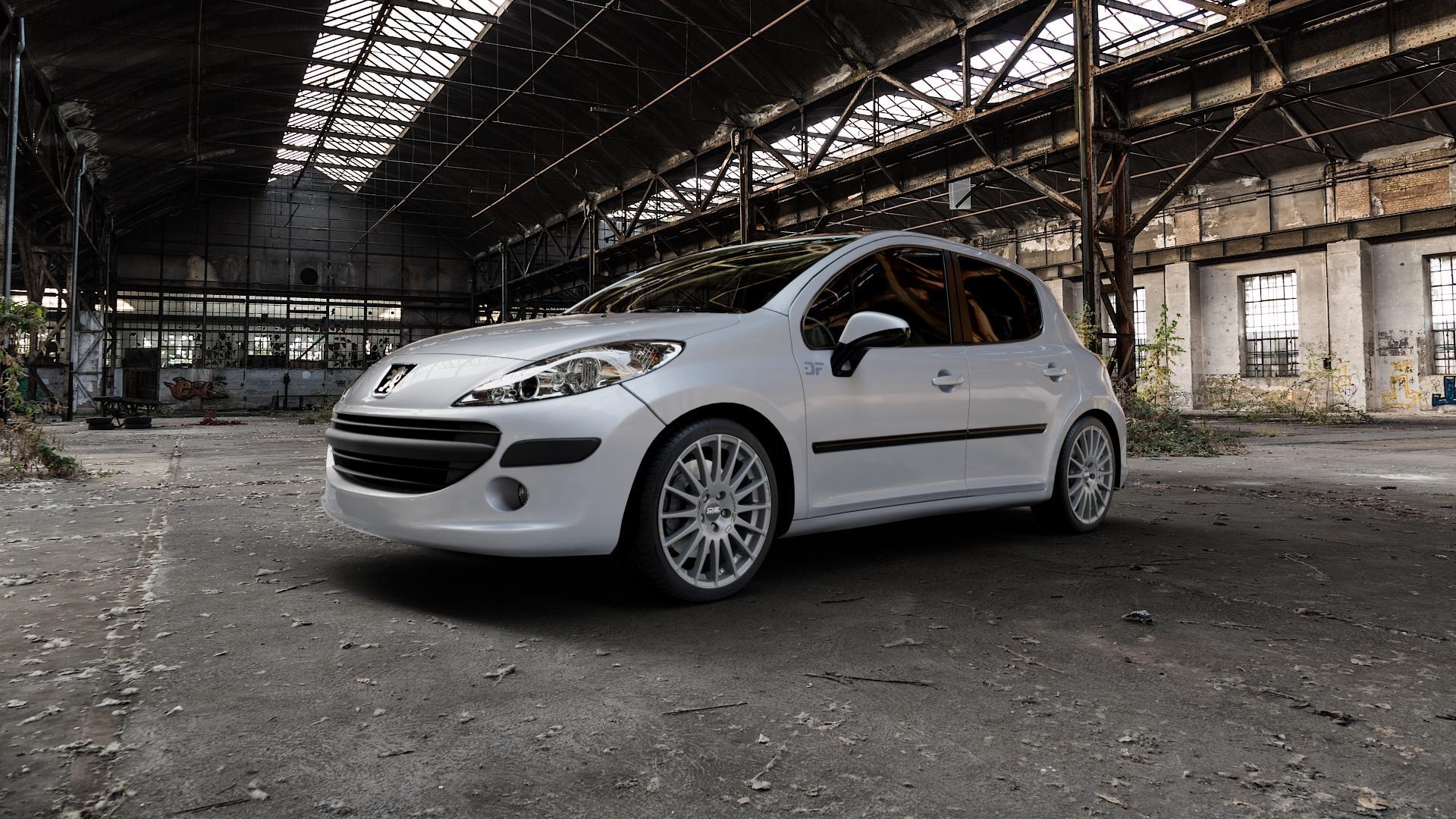 OZ RACING SUPERTURISMO GT GRIGIO CORSA Felge mit Reifen silber in 18Zoll Winterfelge Alufelge auf silbernem Peugeot 207 SW ⬇️ mit 15mm Tieferlegung ⬇️ Industriehalle 1 Camera_000