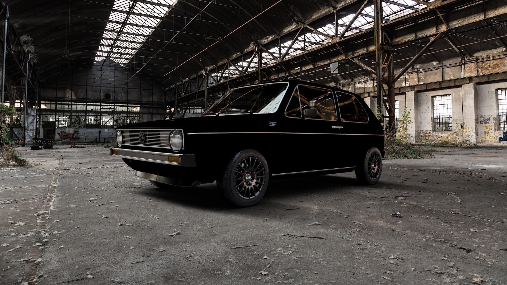 OZ RACING SUPERTURISMO GT MATT BLACK Felge mit Reifen schwarz in 14Zoll Winterfelge Alufelge auf silbernem Volkswagen (VW) Golf 1 ⬇️ mit 15mm Tieferlegung ⬇️ Industriehalle 1 Camera_000