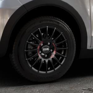 OZ RACING SUPERTURISMO GT MATT BLACK Felge mit Reifen schwarz in 14Zoll Winterfelge Alufelge auf silbernem Volkswagen (VW) UP Cross ⬇️ mit 15mm Tieferlegung ⬇️ Industriehalle 1 Thumbnail