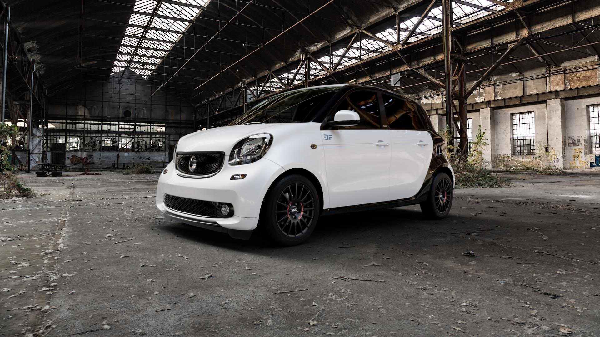 OZ RACING SUPERTURISMO GT MATT BLACK Felge mit Reifen schwarz in 15Zoll Winterfelge Alufelge auf weissem Smart Forfour II (453) ⬇️ mit 15mm Tieferlegung ⬇️ Industriehalle 1 Camera_000