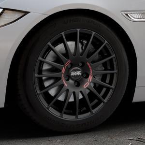 OZ RACING SUPERTURISMO GT MATT BLACK Felge mit Reifen schwarz in 17Zoll Winterfelge Alufelge auf silbernem Jaguar XE Typ JA ⬇️ mit 15mm Tieferlegung ⬇️ Industriehalle 1 Thumbnail