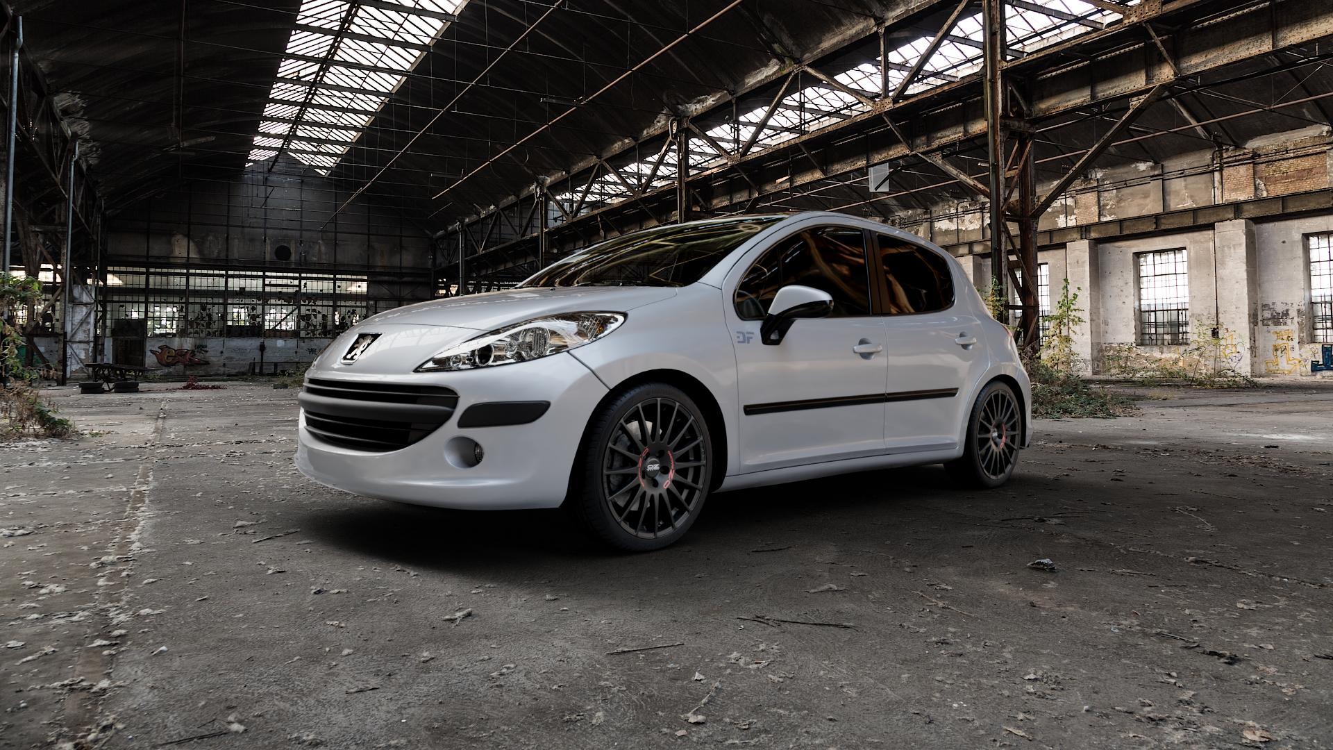OZ RACING SUPERTURISMO GT MATT BLACK Felge mit Reifen schwarz in 18Zoll Winterfelge Alufelge auf silbernem Peugeot 207 SW ⬇️ mit 15mm Tieferlegung ⬇️ Industriehalle 1 Camera_000