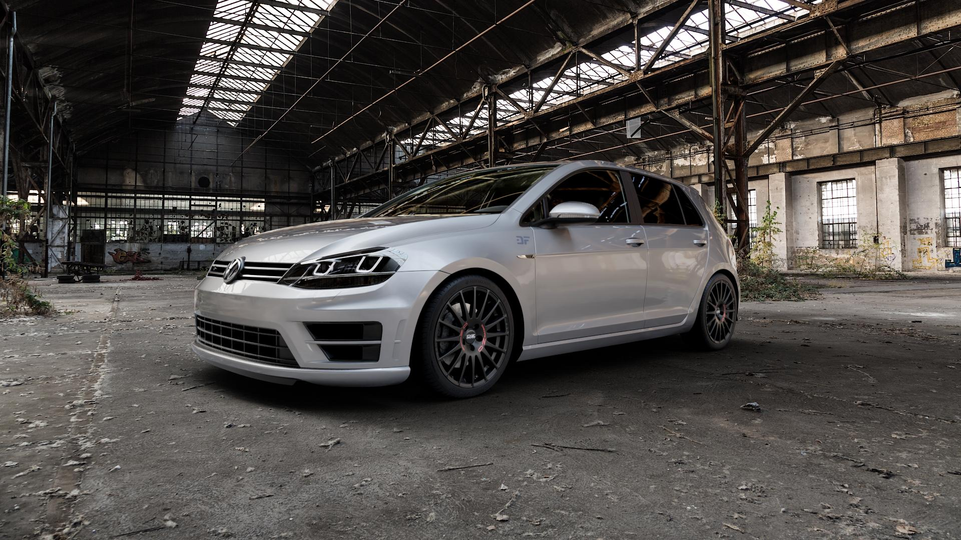 OZ RACING SUPERTURISMO GT MATT BLACK Felge mit Reifen schwarz in 18Zoll Winterfelge Alufelge auf silbernem Volkswagen (VW) Golf 7 2,0l R 4motion 221kW (300 PS) l kW (0 Facelift 4Motion 228kW (310 213kW (290 ⬇️ mit 15mm Tieferlegung ⬇️ Industriehalle 1 Camera_000