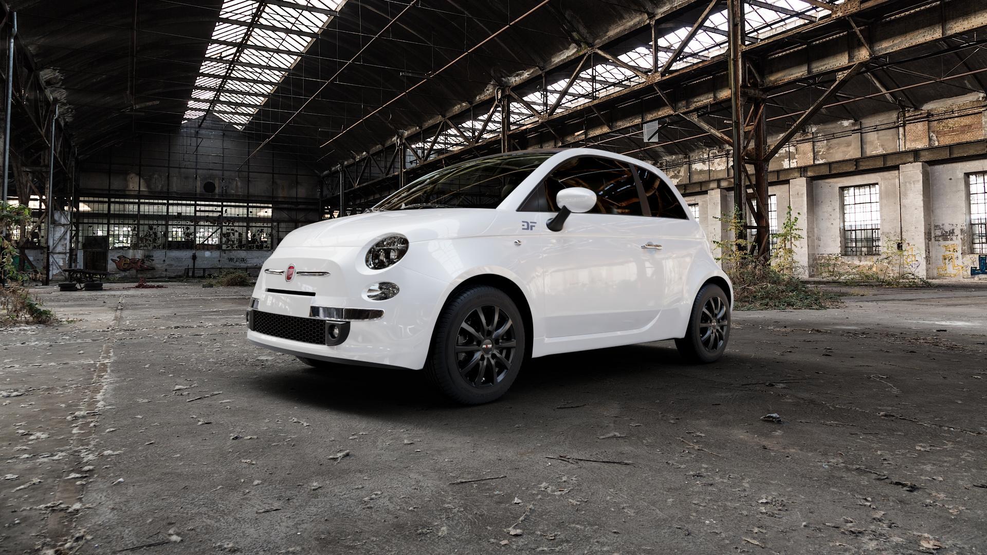 Platin Wheels P 69 schwarz matt Felge mit Reifen in 14Zoll Winterfelge Alufelge auf weissem Fiat 500 Typ 312 Cabrio Facelift ⬇️ mit 15mm Tieferlegung ⬇️ Industriehalle 1 Camera_000