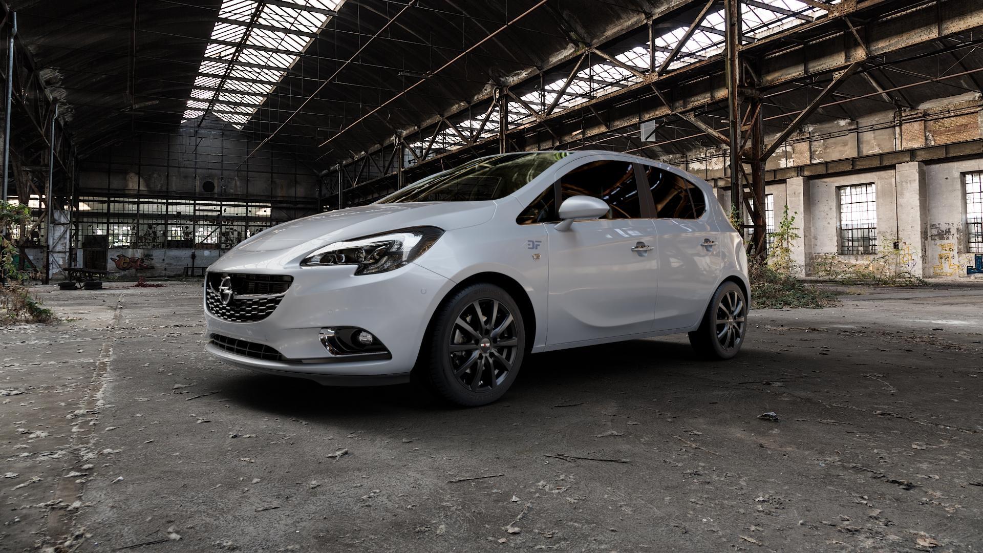 Platin Wheels P 69 schwarz matt Felge mit Reifen in 16Zoll Winterfelge Alufelge auf silbernem Opel Corsa E Typ S-D ⬇️ mit 15mm Tieferlegung ⬇️ Industriehalle 1 Camera_000