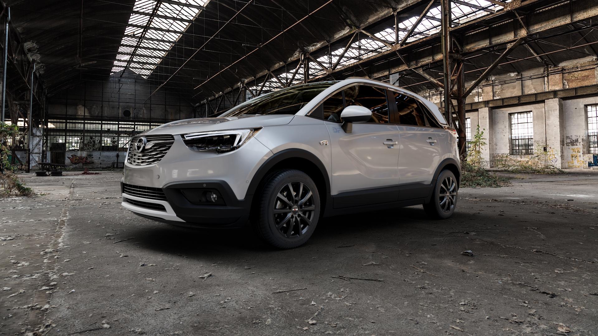 Platin Wheels P 69 schwarz matt Felge mit Reifen in 16Zoll Winterfelge Alufelge auf silbernem Opel Crossland X ⬇️ mit 15mm Tieferlegung ⬇️ Industriehalle 1 Camera_000