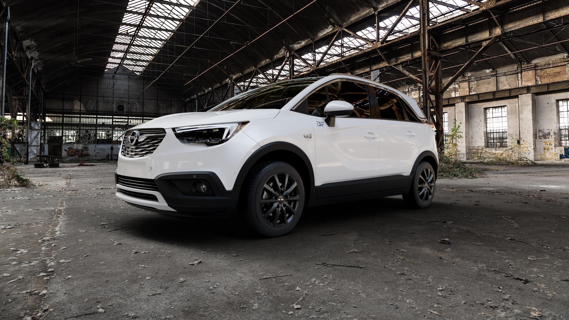 Platin Wheels P 69 schwarz matt Felge mit Reifen in 16Zoll Winterfelge Alufelge auf weissem Opel Crossland X ⬇️ mit 15mm Tieferlegung ⬇️ Industriehalle 1 Camera_000