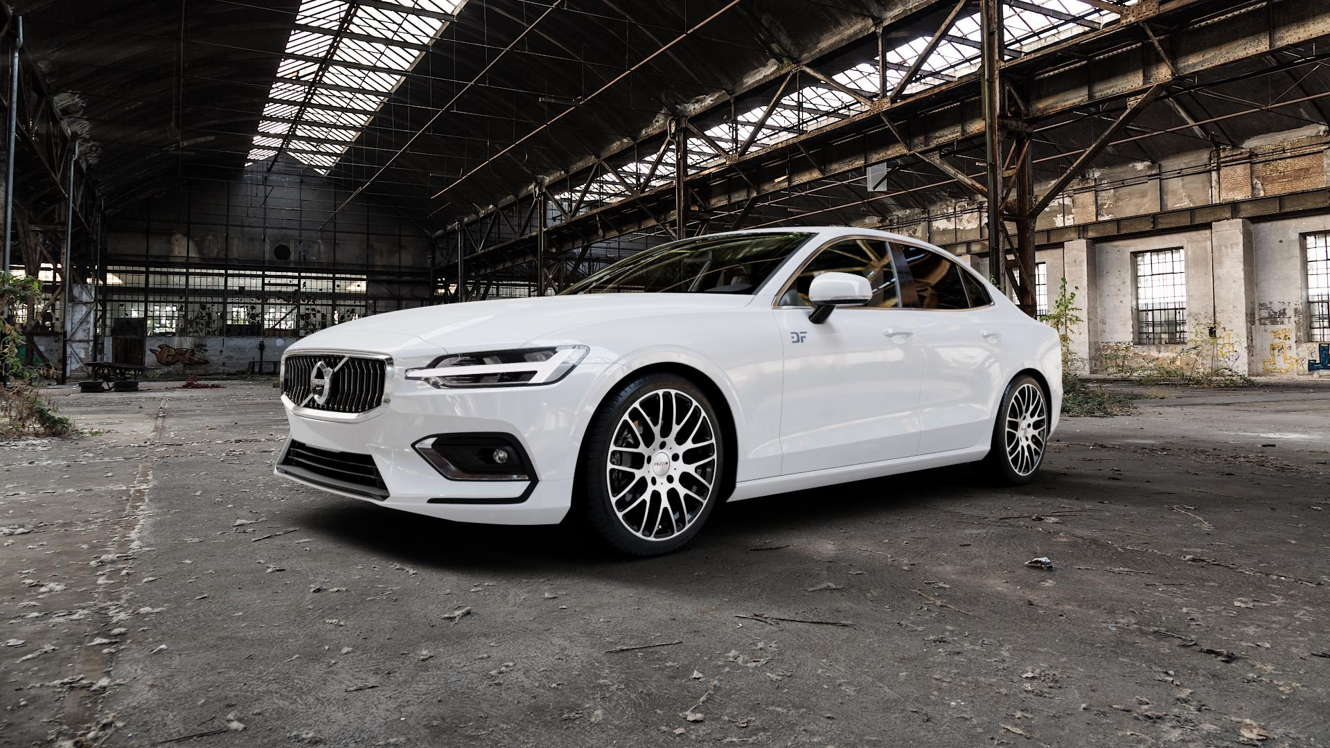 Platin Wheels P 70 schwarz poliert Felge mit Reifen in 19Zoll Alufelge auf weissem Volvo S60 III Typ Z ⬇️ mit 15mm Tieferlegung ⬇️ Industriehalle 1 Camera_000