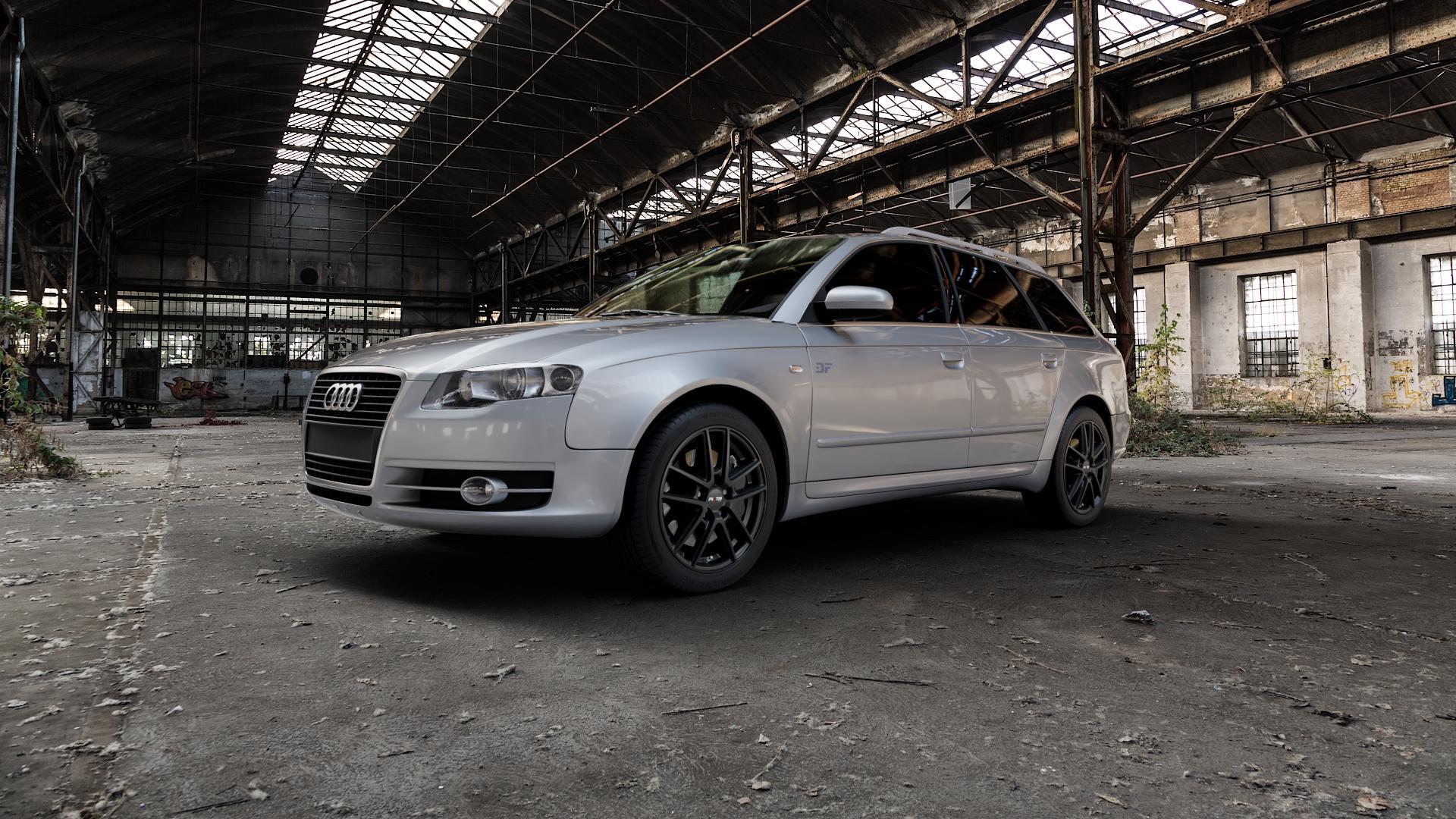 Platin Wheels P 73 racing-schwarz Felge mit Reifen in 17Zoll Winterfelge Alufelge auf silbernem Audi A4 Typ 8ED/B7 (Avant) ⬇️ mit 15mm Tieferlegung ⬇️ Industriehalle 1 Camera_000