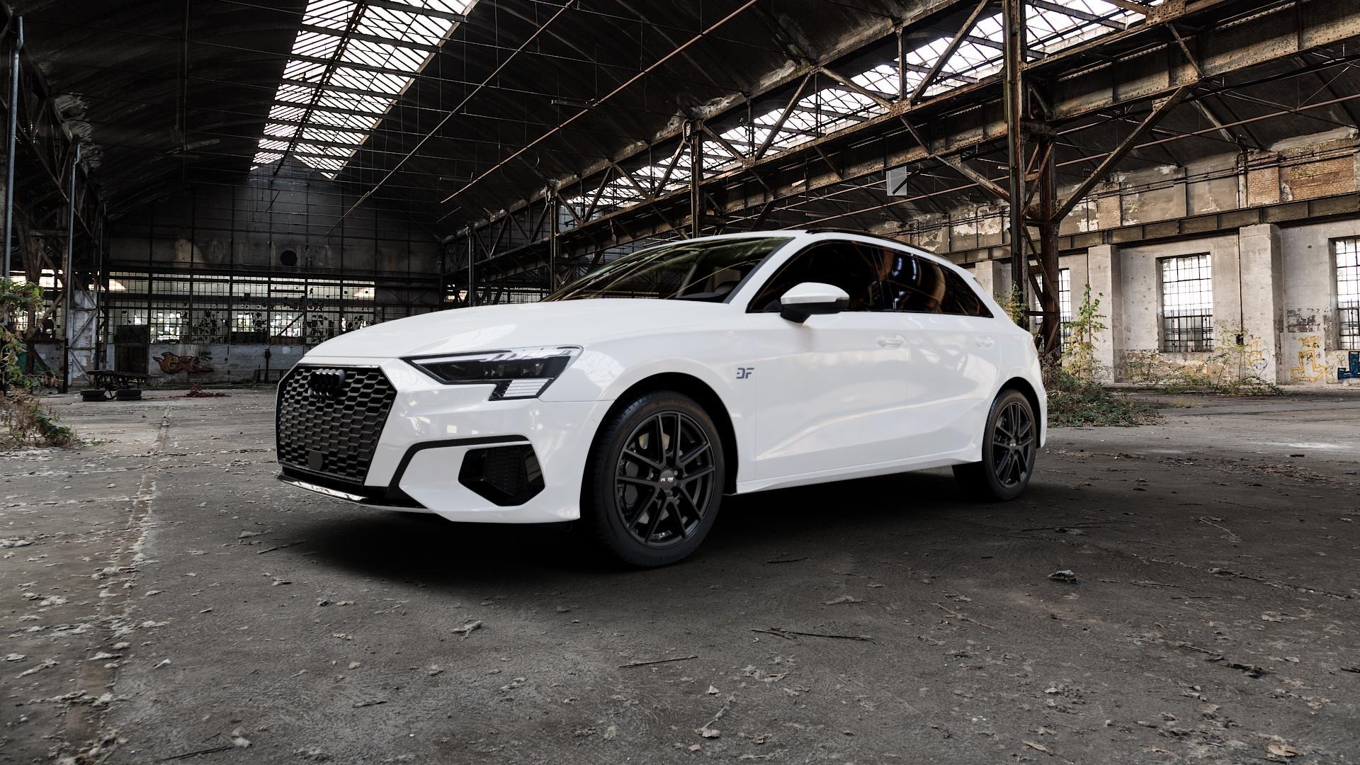 Platin Wheels P 73 racing-schwarz Felge mit Reifen in 17Zoll Winterfelge Alufelge auf weissem Audi A3 Typ GY (Sportback) ⬇️ mit 15mm Tieferlegung ⬇️ Industriehalle 1 Camera_000