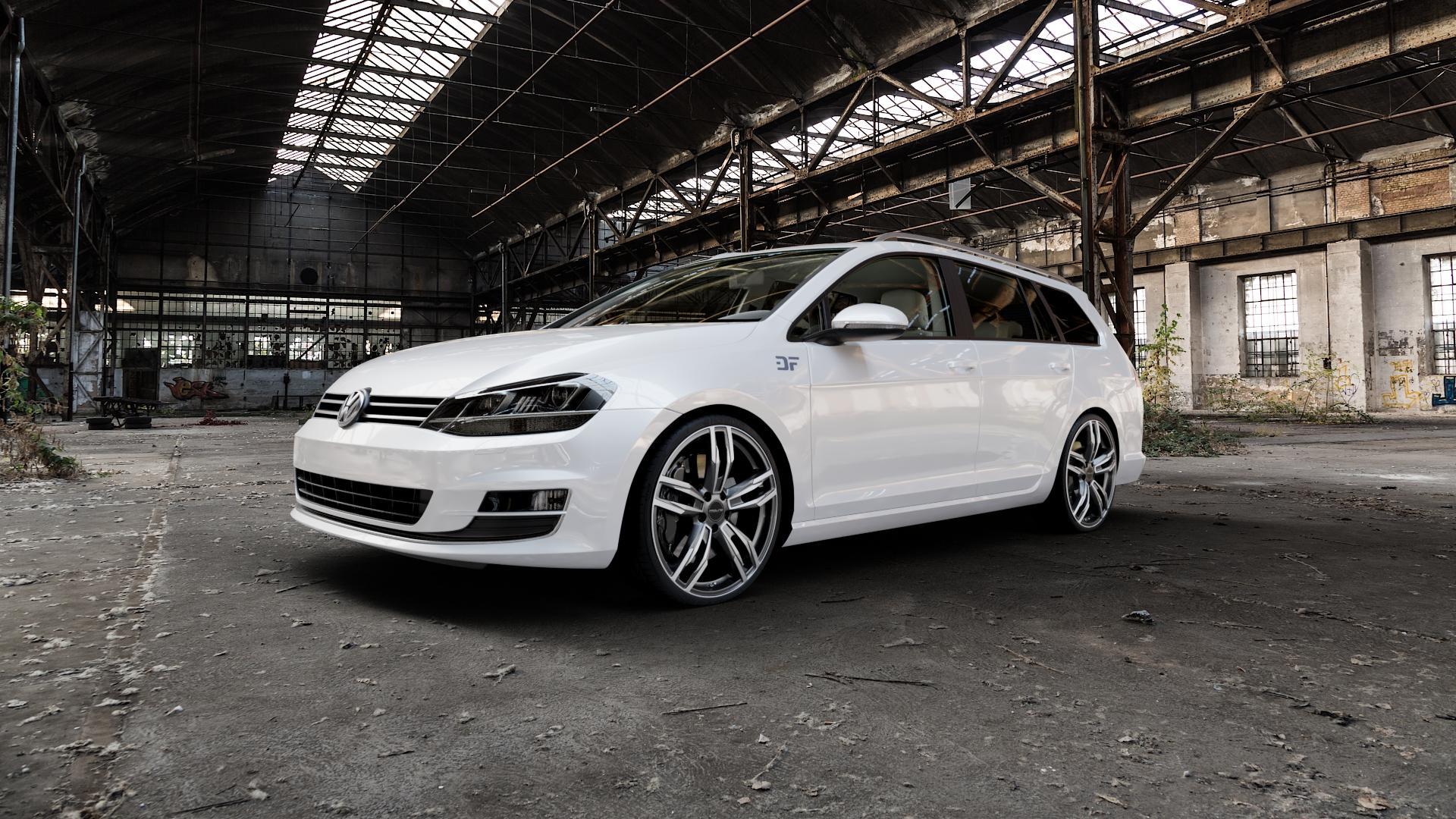 ProLine Wheels PXD Grey Polished Felge mit Reifen grau in 20Zoll Winterfelge Alufelge auf weissem Volkswagen (VW) Golf 7 Variant ⬇️ mit 15mm Tieferlegung ⬇️ Industriehalle 1 Camera_000