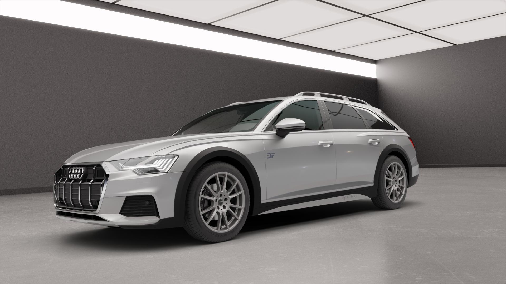 ProLine Wheels PXF Matt Grey Felge mit Reifen grau in 19Zoll Winterfelge Alufelge auf silbernem Audi A6 Allroad Quattro Typ F2/C8 ⬇️ mit 15mm Tieferlegung ⬇️ Neutral_mid_max5300mm Frontansicht_1