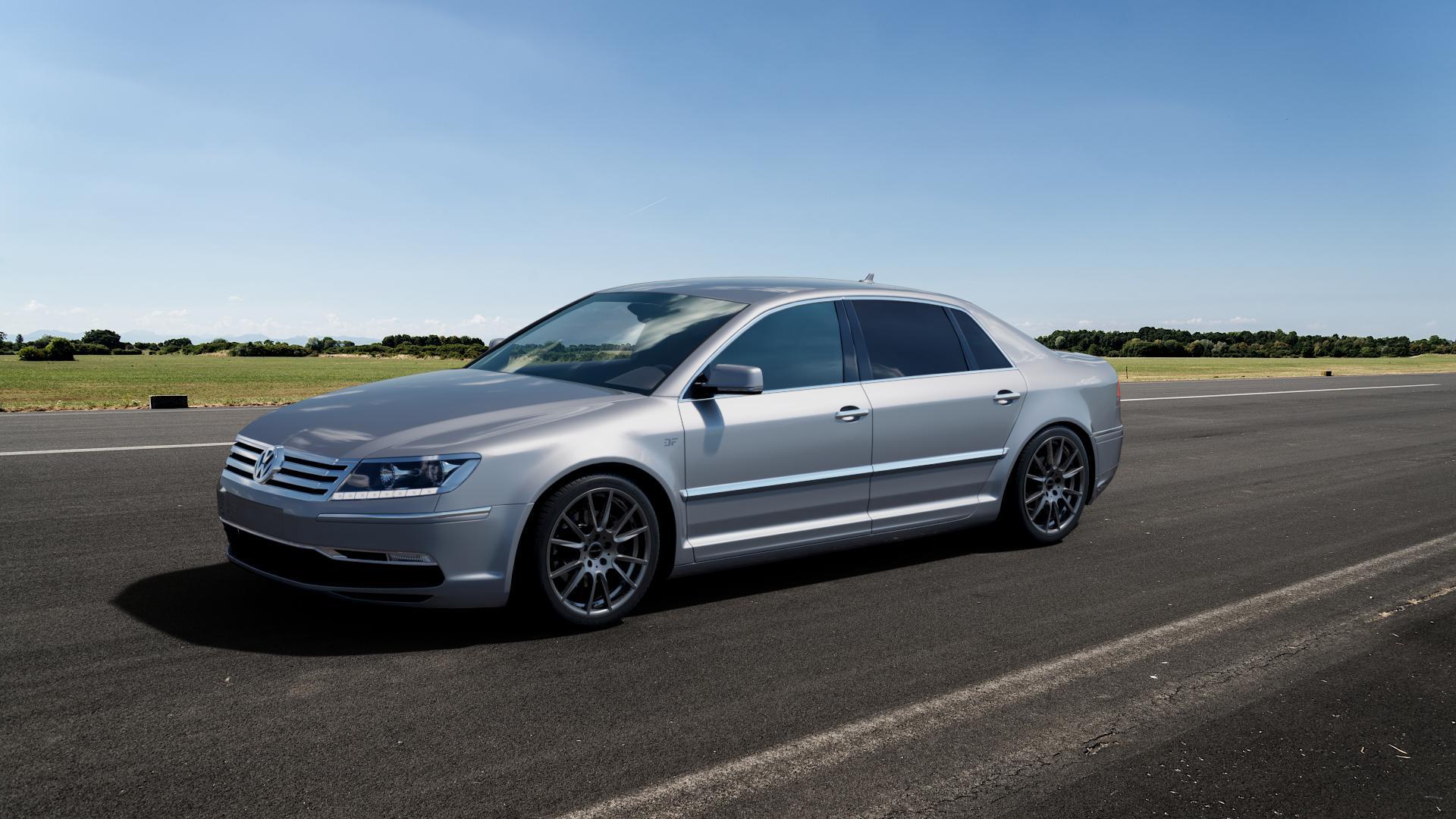 ProLine Wheels PXF Matt Grey Felge mit Reifen grau in 19Zoll Winterfelge Alufelge auf silbernem Volkswagen (VW) Phaeton Typ 3D (Facelift 10->) ⬇️ mit 15mm Tieferlegung ⬇️ Big_Vehicle_Airstrip_1 Frontansicht_1