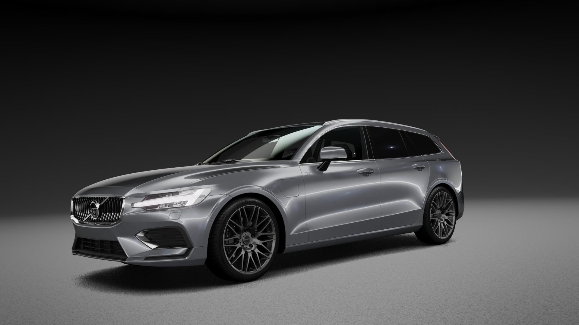 ProLine Wheels PXK Matt Grey Felge mit Reifen grau in 19Zoll Winterfelge Alufelge auf silbernem Volvo V60 Typ Z ⬇️ mit 15mm Tieferlegung ⬇️ Neutral_mid_max5300mm Frontansicht_1