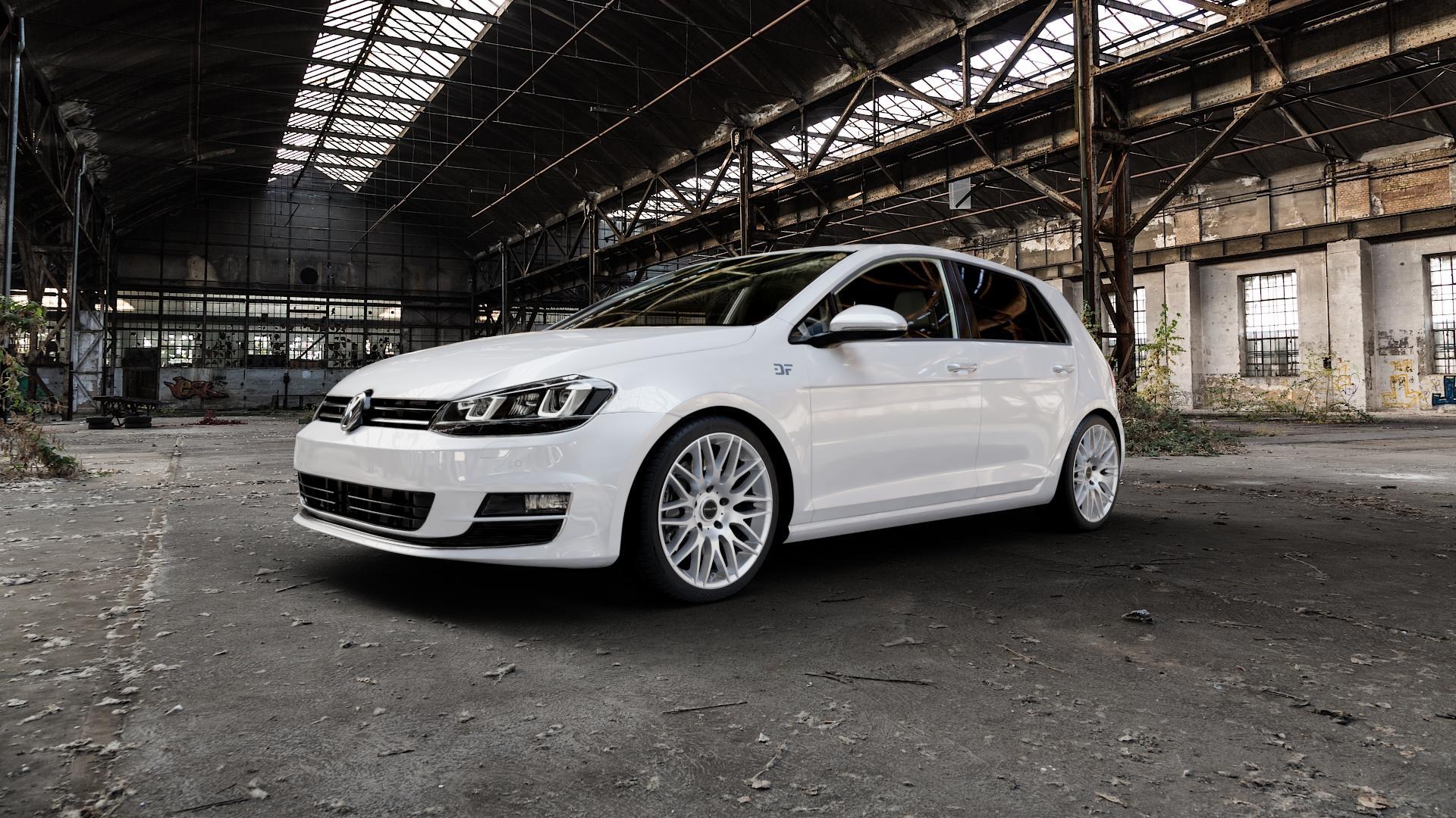 ProLine Wheels PXK Metallic Silver Felge mit Reifen silber in 18Zoll Winterfelge Alufelge auf weissem Volkswagen (VW) Golf 7 ⬇️ mit 15mm Tieferlegung ⬇️ Industriehalle 1 Camera_000