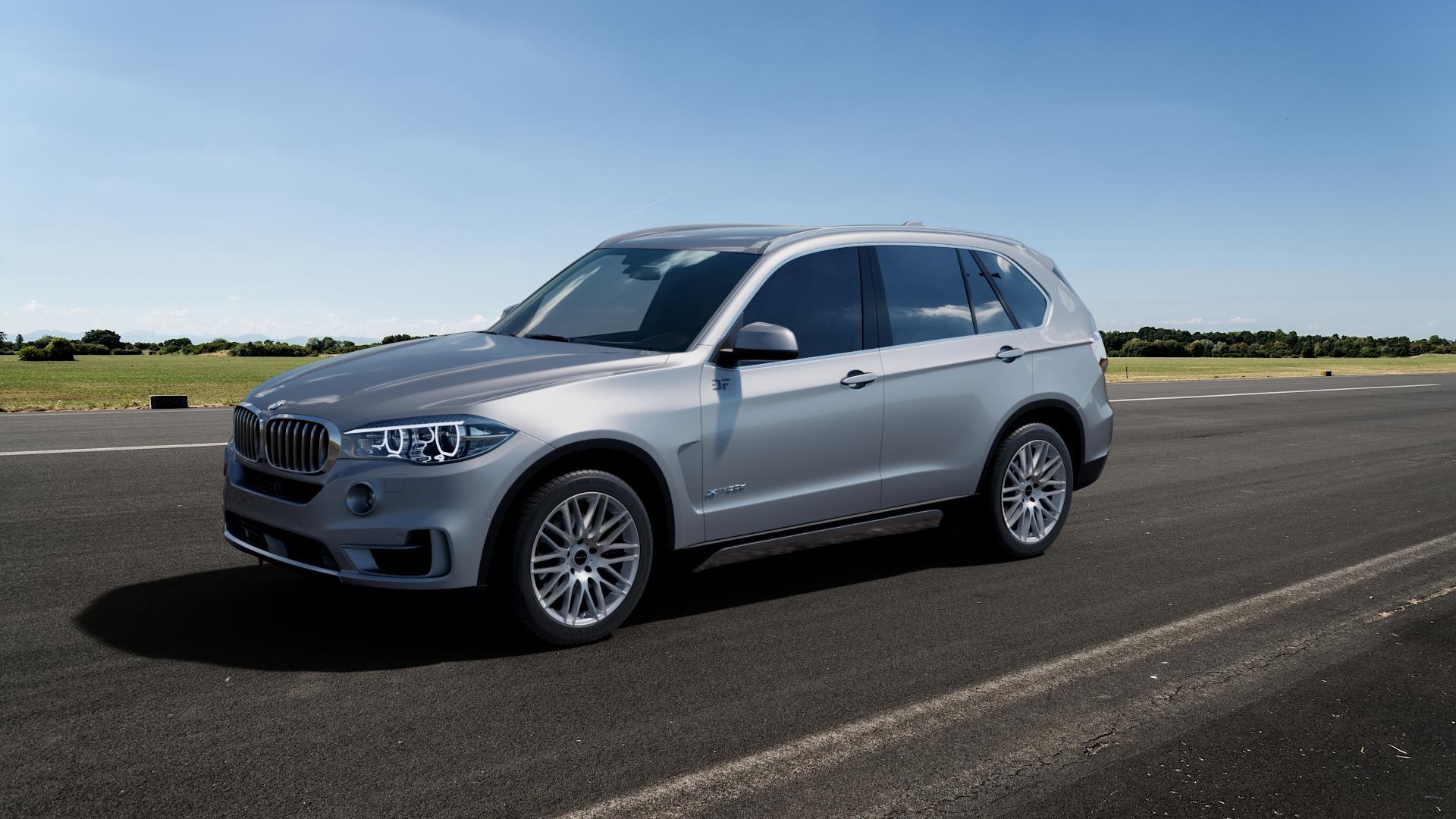 ProLine Wheels PXK Metallic Silver Felge mit Reifen silber in 20Zoll Winterfelge Alufelge auf silbernem BMW X5 Typ F15 (X5, X-N1) ⬇️ mit 15mm Tieferlegung ⬇️ Big_Vehicle_Airstrip_1 Frontansicht_1