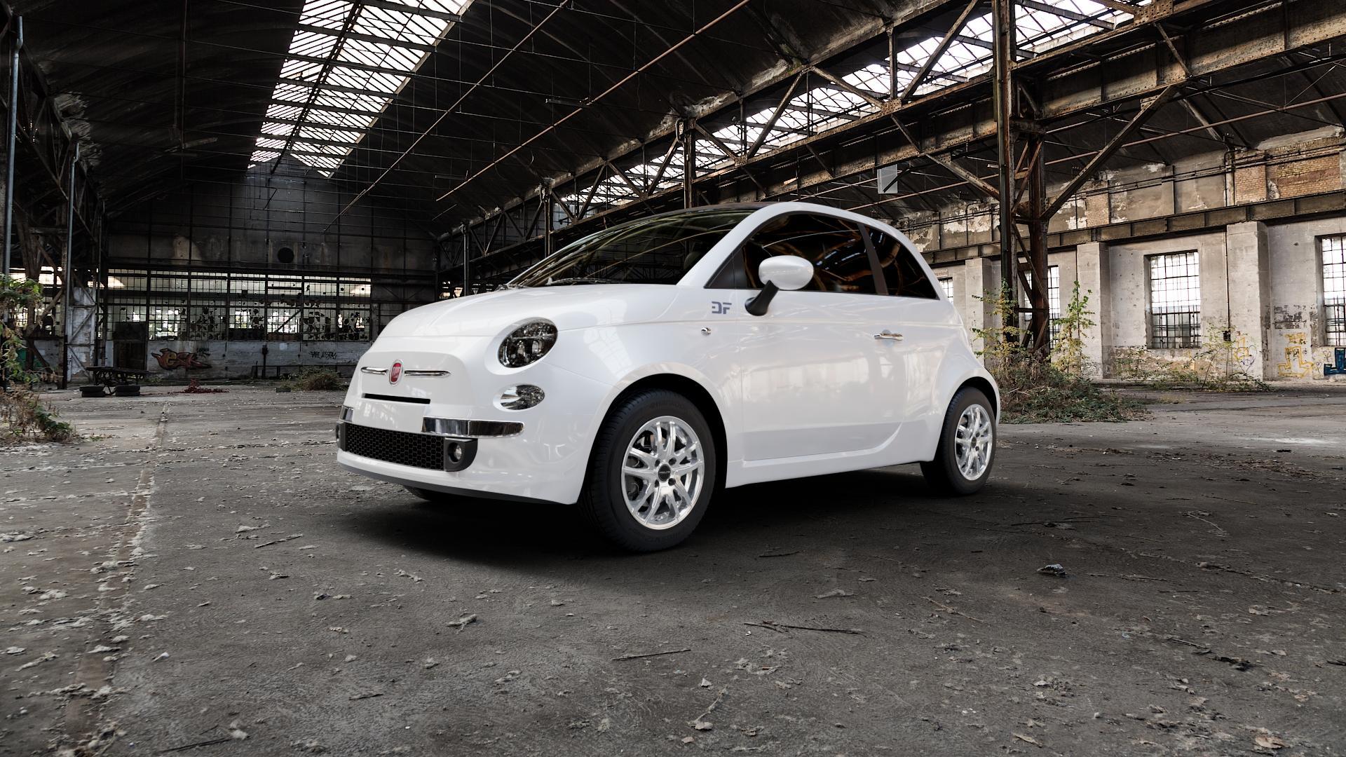 ProLine Wheels VX100 Arctic Silver Felge mit Reifen silber in 14Zoll Winterfelge Alufelge auf weissem Fiat 500 Typ 312 Cabrio Facelift ⬇️ mit 15mm Tieferlegung ⬇️ Industriehalle 1 Camera_000