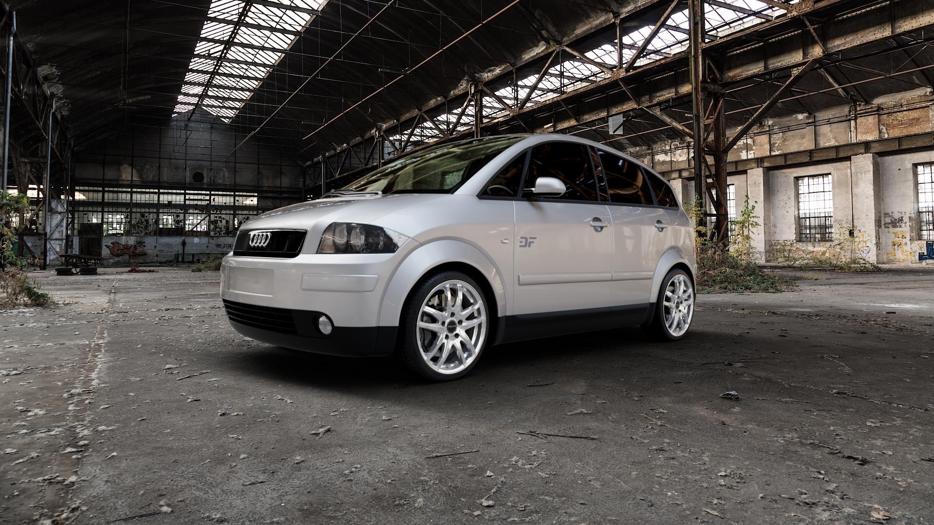 ProLine Wheels VX100 Arctic Silver Felge mit Reifen silber in 17Zoll Winterfelge Alufelge auf silbernem Audi A2 Typ 8Z ⬇️ mit 15mm Tieferlegung ⬇️ Industriehalle 1 Camera_000