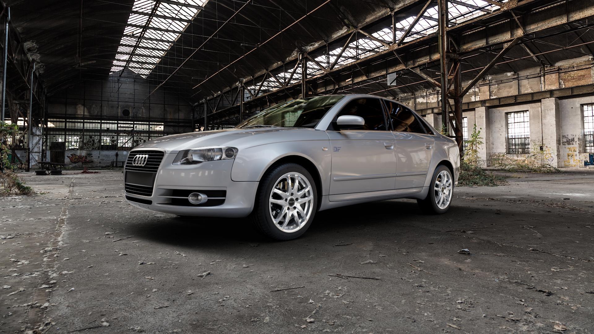 ProLine Wheels VX100 Arctic Silver Felge mit Reifen silber in 17Zoll Winterfelge Alufelge auf silbernem Audi A4 Typ 8EC/B7 (Limousine) ⬇️ mit 15mm Tieferlegung ⬇️ Industriehalle 1 Camera_000