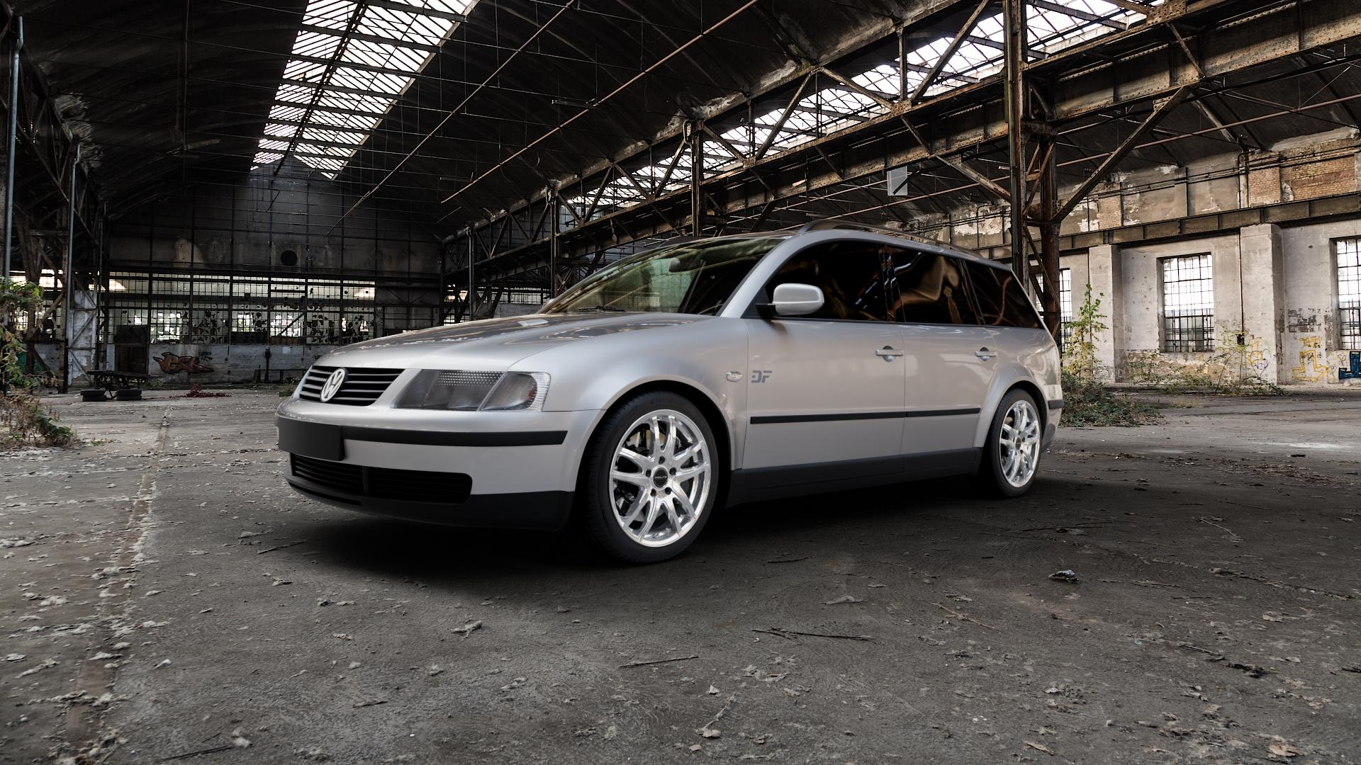 ProLine Wheels VX100 Arctic Silver Felge mit Reifen silber in 17Zoll Winterfelge Alufelge auf silbernem Volkswagen (VW) Passat 3B Limousine Variant ⬇️ mit 15mm Tieferlegung ⬇️ Industriehalle 1 Camera_000