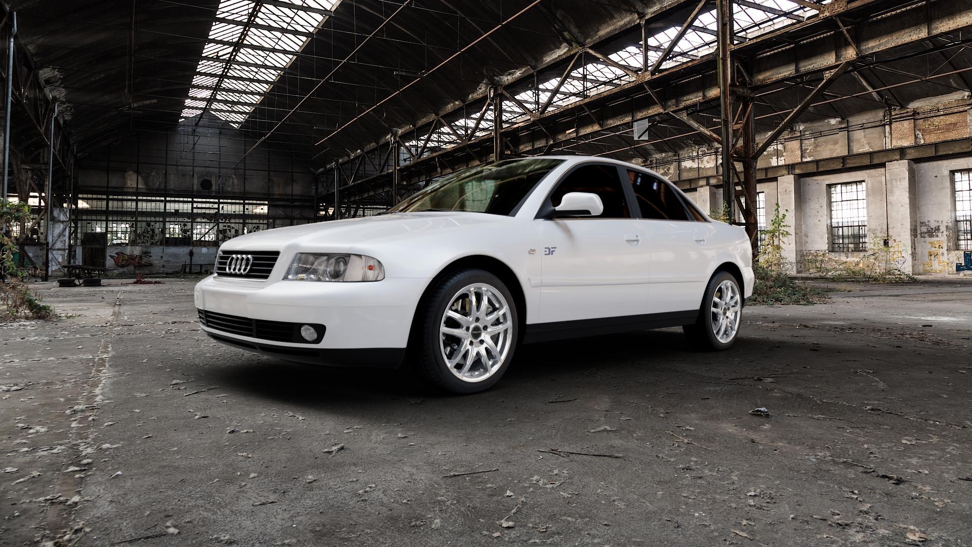 ProLine Wheels VX100 Arctic Silver Felge mit Reifen silber in 17Zoll Winterfelge Alufelge auf weissem Audi A4 Typ 8D2/B5 (Limousine) ⬇️ mit 15mm Tieferlegung ⬇️ Industriehalle 1 Camera_000