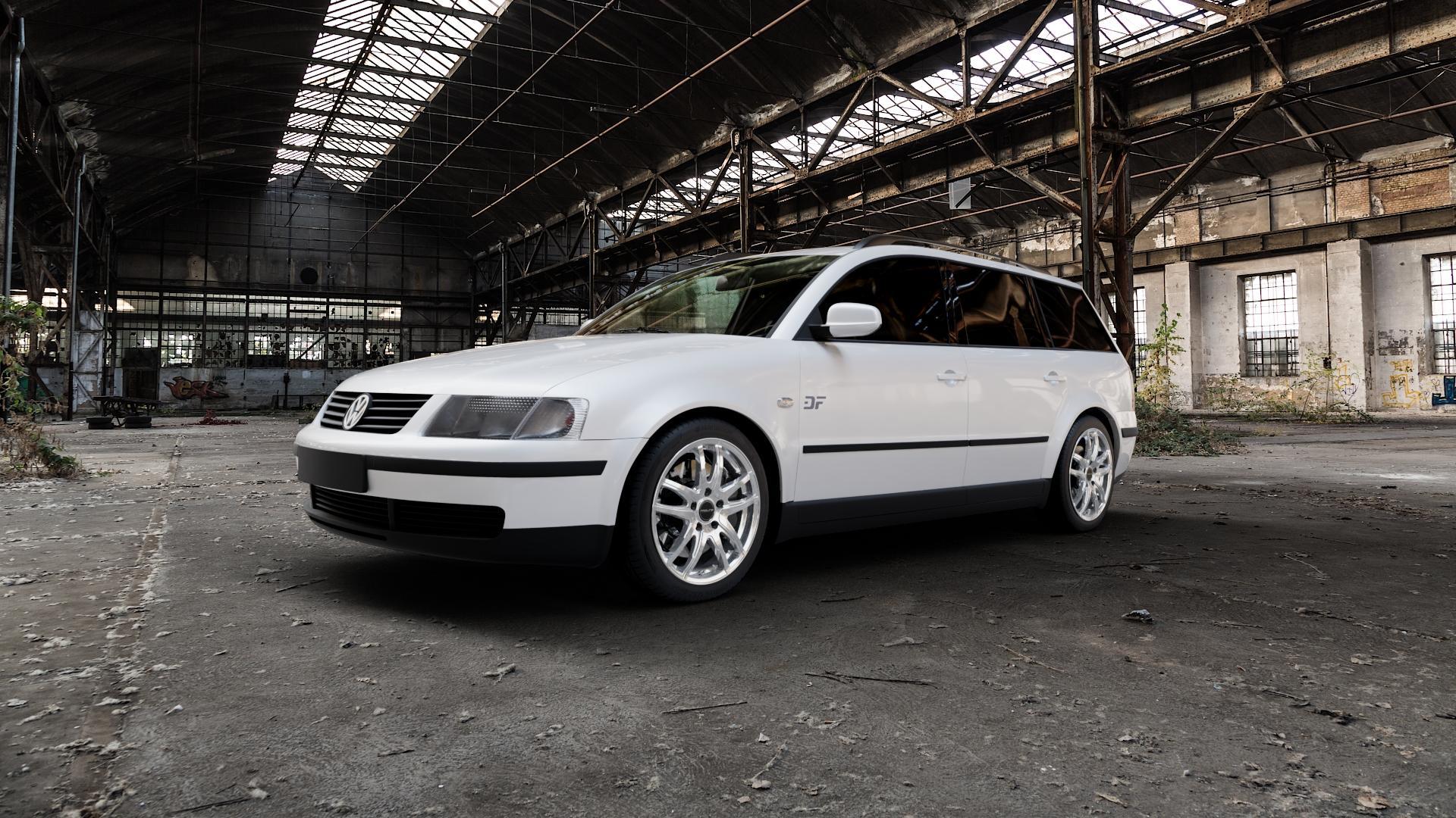 ProLine Wheels VX100 Arctic Silver Felge mit Reifen silber in 17Zoll Winterfelge Alufelge auf weissem Volkswagen (VW) Passat 3B Limousine Variant ⬇️ mit 15mm Tieferlegung ⬇️ Industriehalle 1 Camera_000