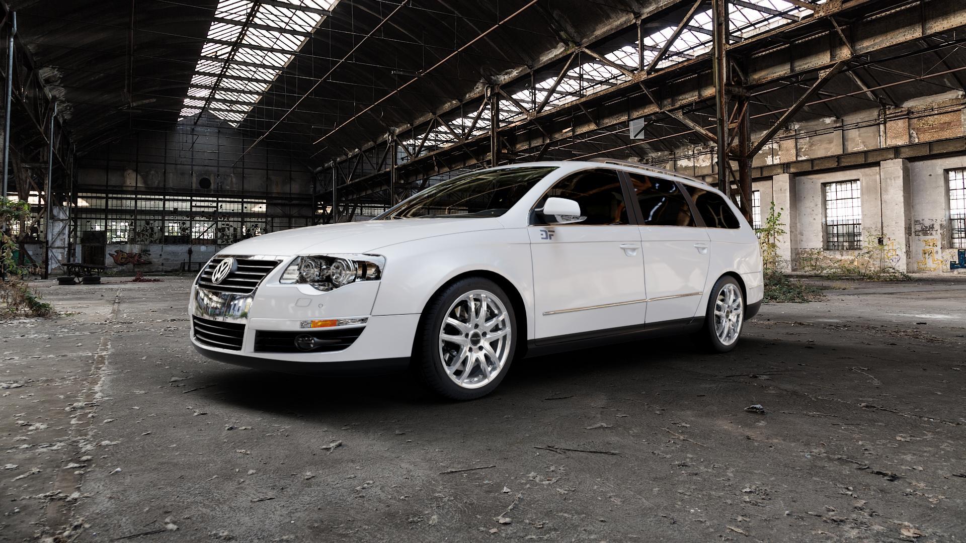 ProLine Wheels VX100 Arctic Silver Felge mit Reifen silber in 17Zoll Winterfelge Alufelge auf weissem Volkswagen (VW) Passat 3C/B6 Variant ⬇️ mit 15mm Tieferlegung ⬇️ Industriehalle 1 Camera_000