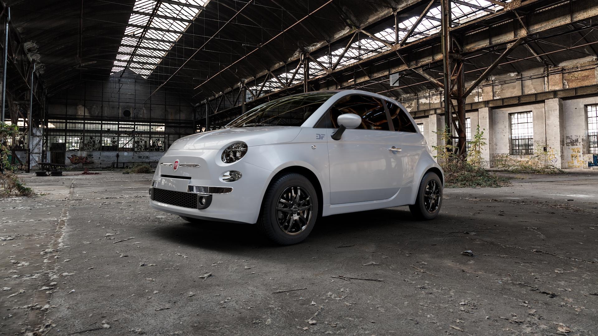 ProLine Wheels VX100 Black Matt Felge mit Reifen schwarz in 14Zoll Winterfelge Alufelge auf silbernem Fiat 500 Typ 312 Cabrio Facelift ⬇️ mit 15mm Tieferlegung ⬇️ Industriehalle 1 Camera_000