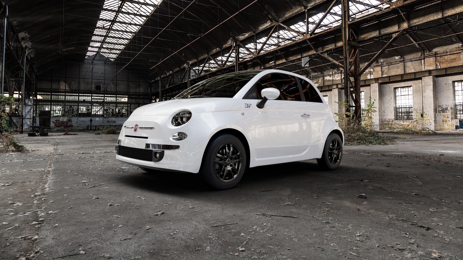 ProLine Wheels VX100 Black Matt Felge mit Reifen schwarz in 14Zoll Winterfelge Alufelge auf weissem Fiat 500 Typ 312 Cabrio Facelift ⬇️ mit 15mm Tieferlegung ⬇️ Industriehalle 1 Camera_000