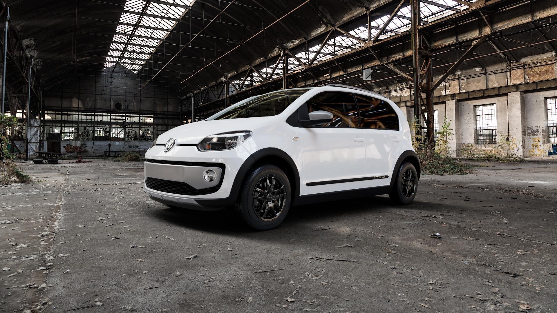 ProLine Wheels VX100 Black Matt Felge mit Reifen schwarz in 14Zoll Winterfelge Alufelge auf weissem Volkswagen (VW) UP Cross ⬇️ mit 15mm Tieferlegung ⬇️ Industriehalle 1 Camera_000