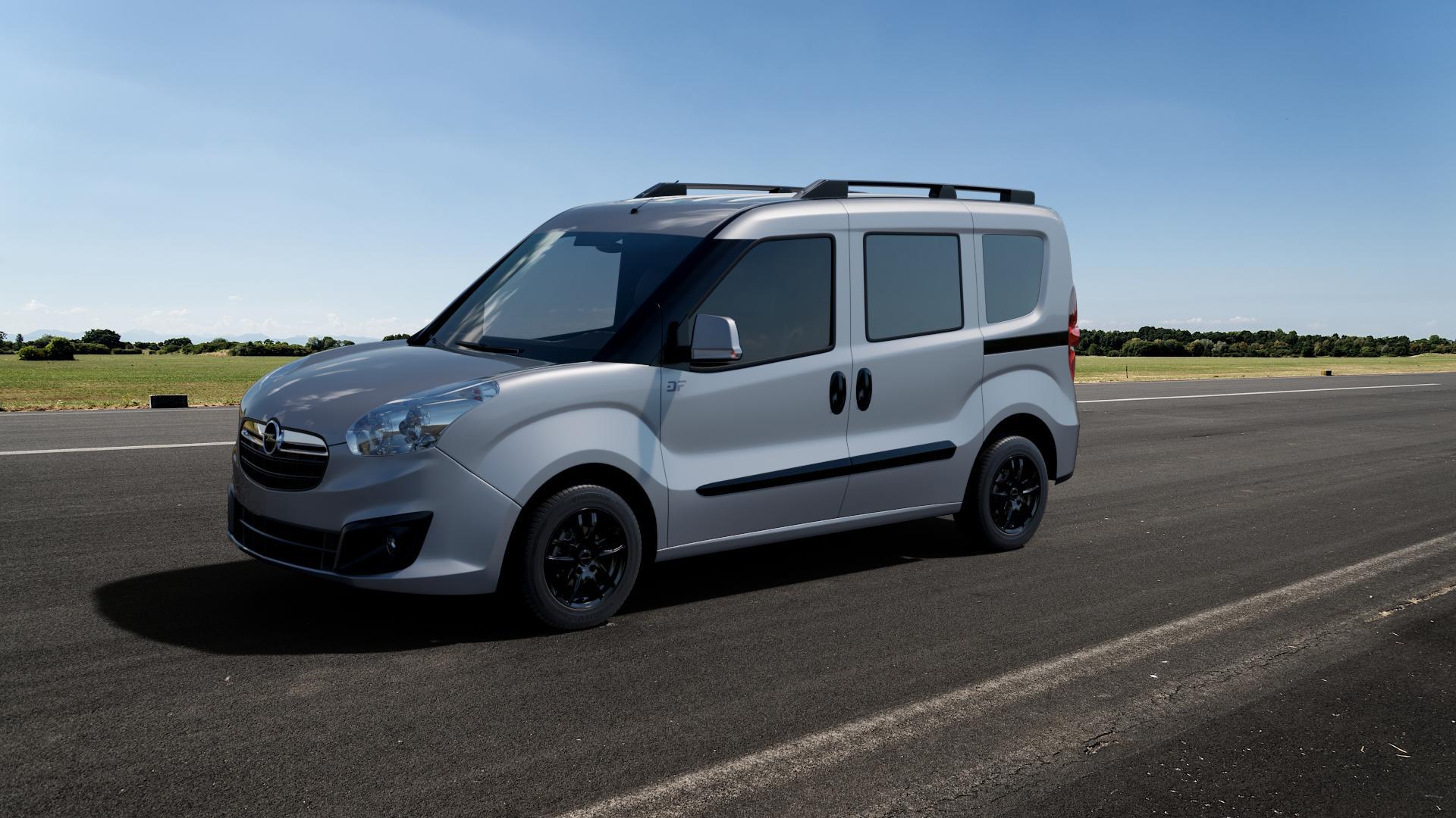 ProLine Wheels VX100 Black Matt Felge mit Reifen schwarz in 15Zoll Winterfelge Alufelge auf silbernem Opel Combo D ⬇️ mit 15mm Tieferlegung ⬇️ Big_Vehicle_Airstrip_1 Frontansicht_1